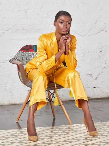 Tasseled Satin Blazer + Pants (Two-Piece Set) in Yellow