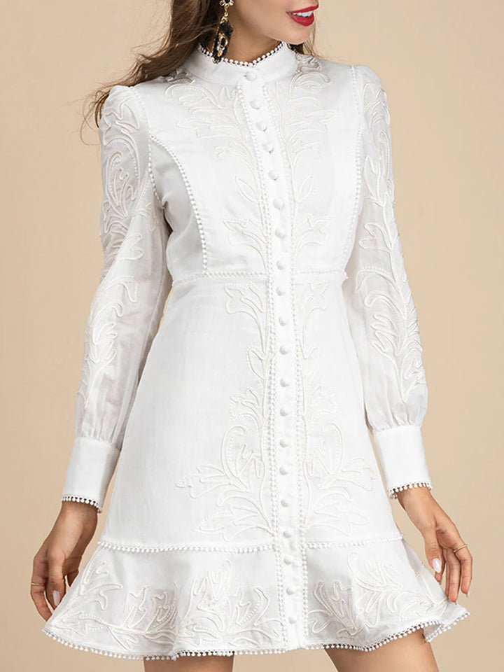 ALLIE Embroidered Mini Dress in White