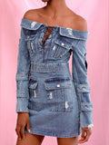 EMONA Lace Out Denim Dress