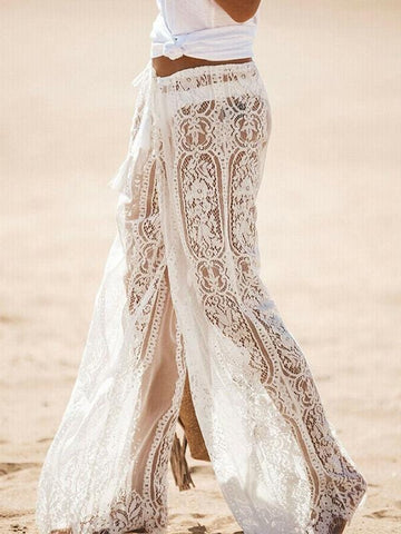 Wide-Leg Lace Pants in White