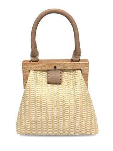 Wood & Straw Shoulder Bag