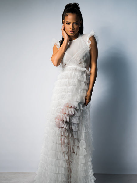 CAVALIER Cascading Tulle Maxi Dress