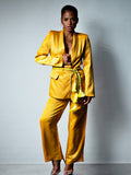 DALIDA Double-breasted Satin Blazer + Pants Matching Set in Gold