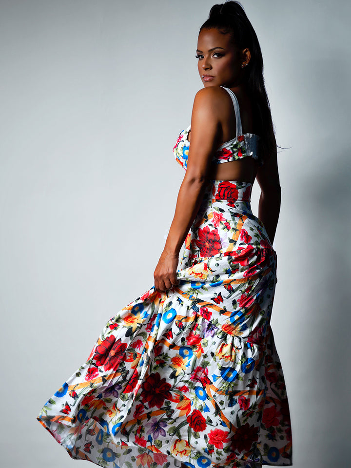 LA REPUBLIQUE Floral Top + Maxi Skirt Matching Set