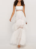 MADAME Strap High WaistTulle Maxi Dress