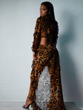 PAR UN TIGRE Cutout Backless Leopard Dress