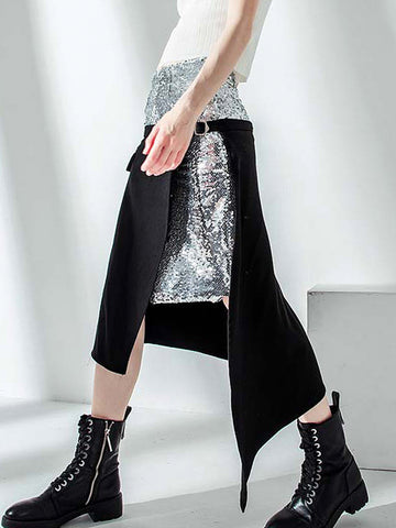 Patchwork Sequins Asymmetric Skirt