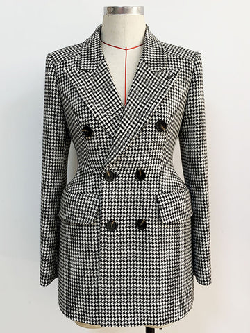 Double Breasted Houndstooth Tweed Coat