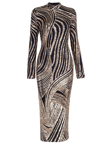 RANA Bodycon High Neck Sequin Midi Dress