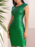 SHANTAL Shiny Green Striped Bodycon Dress