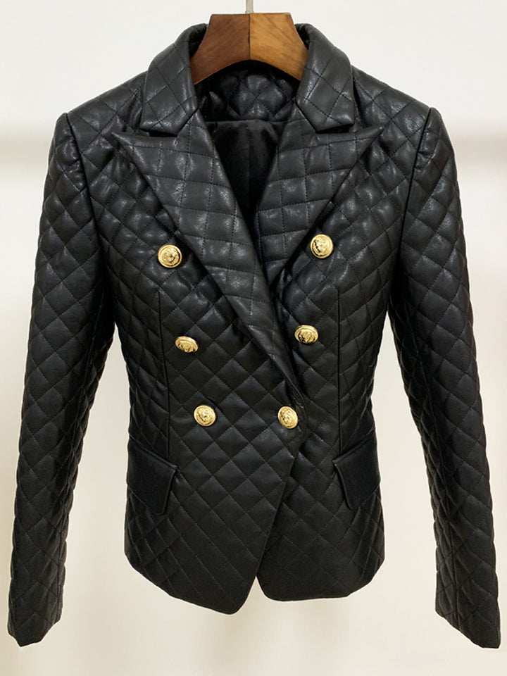 Double-Breasted Plaid Leather Blazer