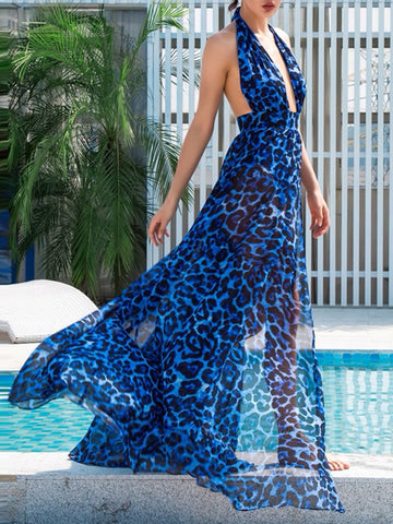 NAKARI Leopard-Print Open Back Slit Maxi Dress