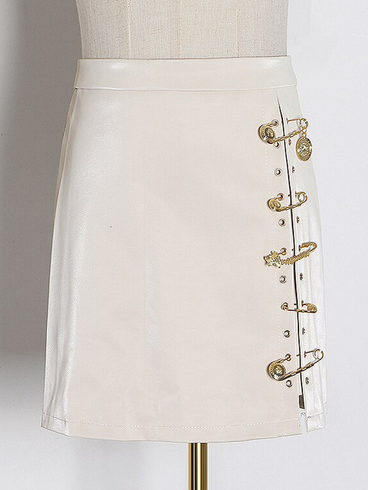 Pin Embellished Faux Leather Mini Skirt