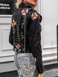Embroidery Floral Faux Leather Jacket