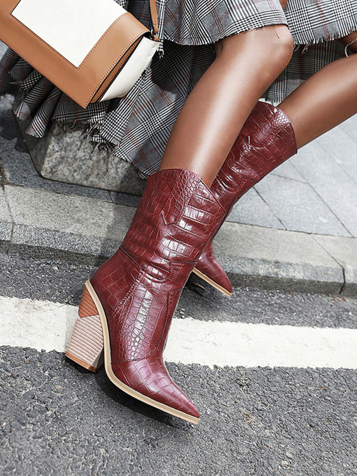 Faux-Leather Mid-Boots