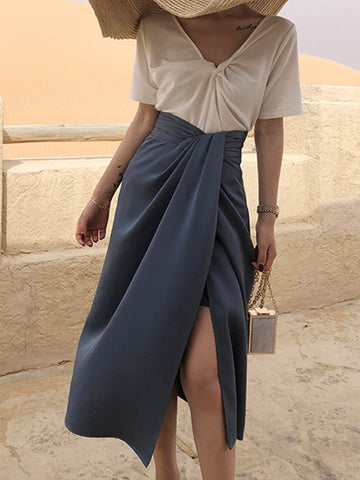 Vintage Asymmetrical Split Skirt
