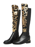 Glittery Fern Knee-High Faux-Leather Boots