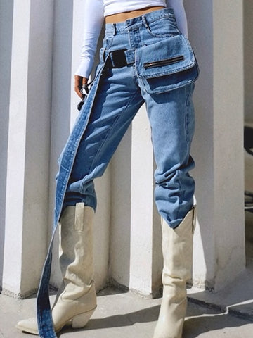 High Waist Loose Sashes Jeans