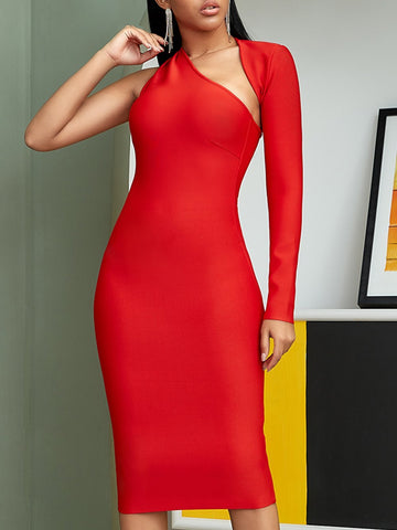 TATYA Irregular Neck One Sleeve Bodycon Dress