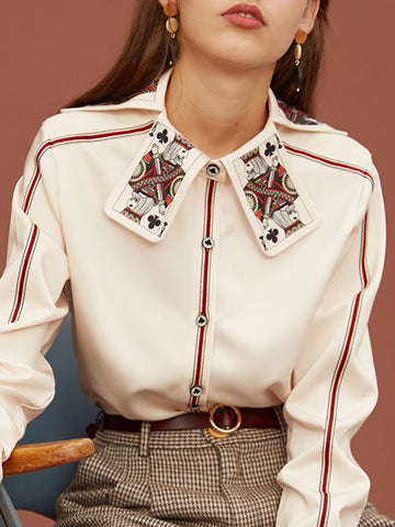 Print-Collar Button-Front Blouse