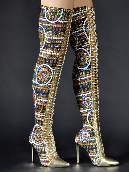 Gold Beaded Pointed Toe High Knee Heel Boots