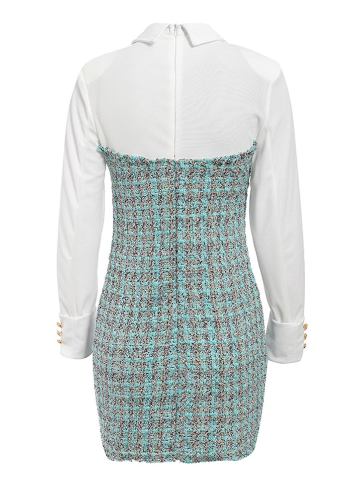 PAZZA Tweed And Satin Button Embellished Mini Dress