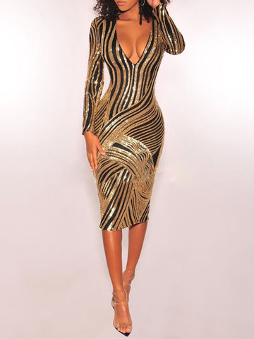 TORA Gold Sequin Bodycon V Neck Dress
