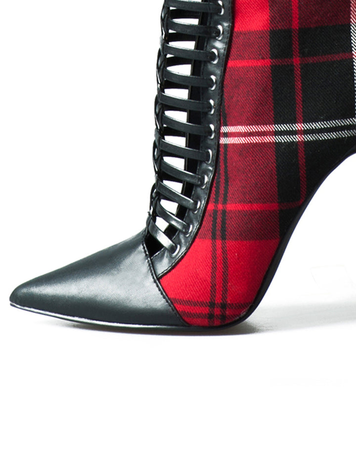 Red Plaid Pointed Toe High Knee Heel Boots