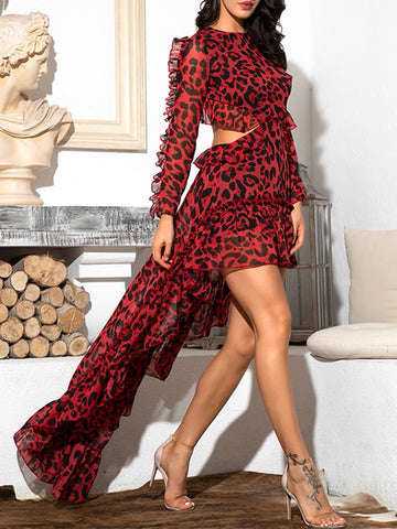 KRISTYNA Leopard-Print Sweep-Train Mini Dress