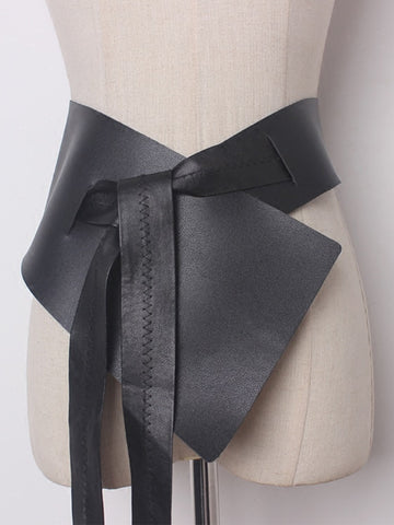 Irregular Faux-Leather Bowknot Belt