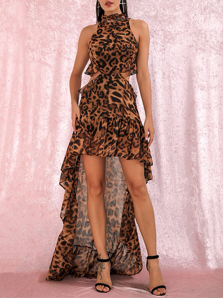AILEEN Leopard-Print Sweep-Train Mini Dress