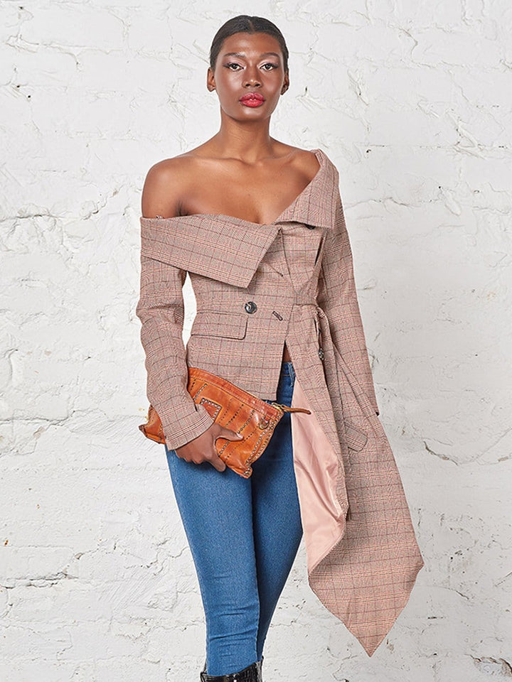 Checkered Off-the-Shoulder Wool-Blend Jacket