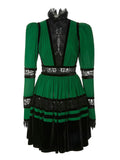 Lace & Velvet Pleated Crêpe Mini Dress in Green