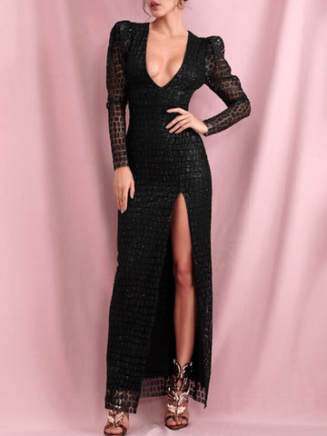 BAGERA Bubble Sleeve High Slit Maxi Dress