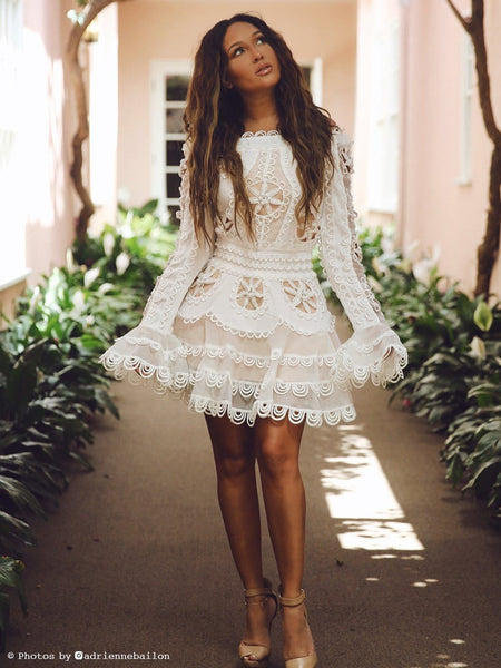 White Ruffled Lace Dress