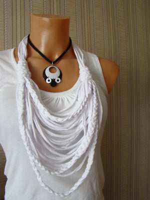 Sebix - Black and White Owl Necklace with Other Necklace