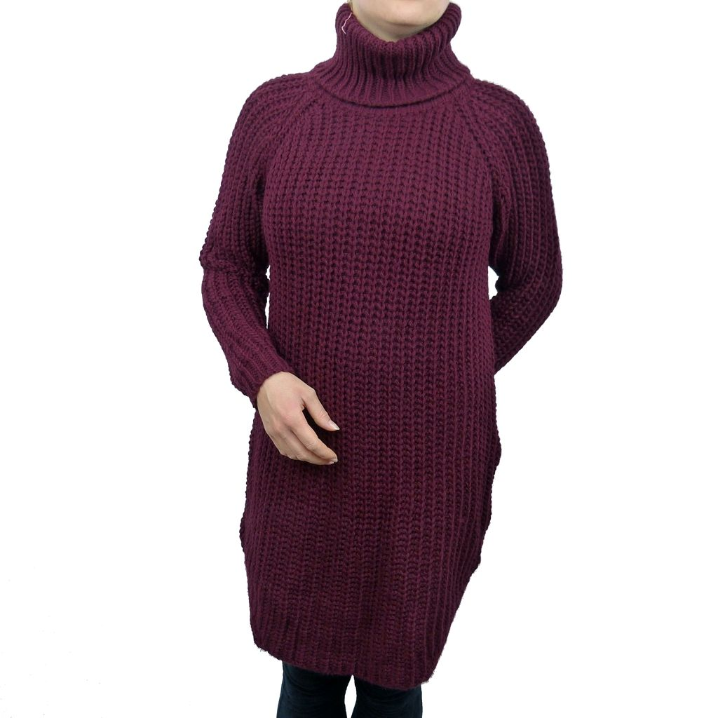 Sebix - Long Warm Wool Turtleneck Jumper - Burgundy