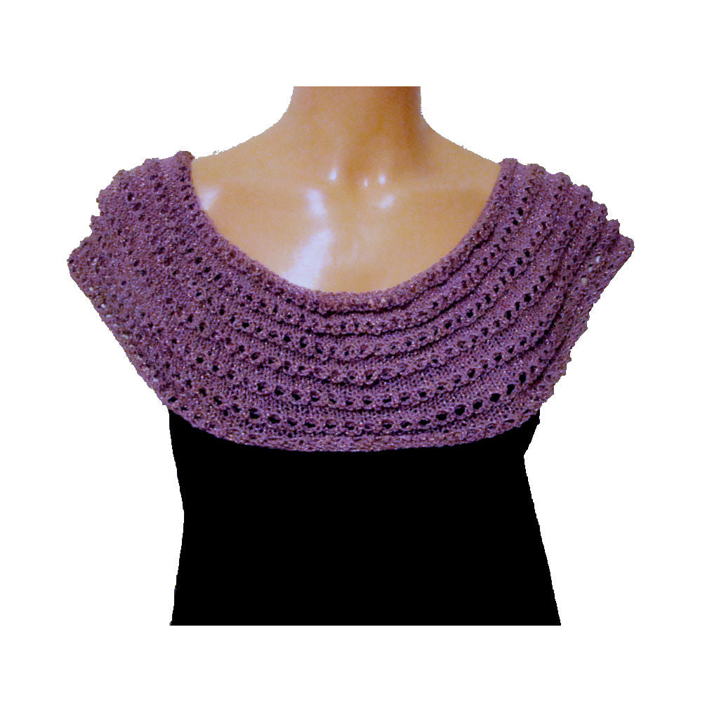 Sebix - Warm Shiny Purple Spain Snood Style Scarf & Boot Cuffs Set - Scarf 1