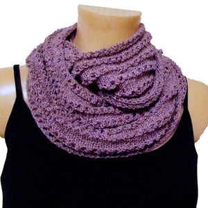 Sebix - Warm Shiny Purple Spain Snood Style Scarf & Boot Cuffs Set - Scarf 2