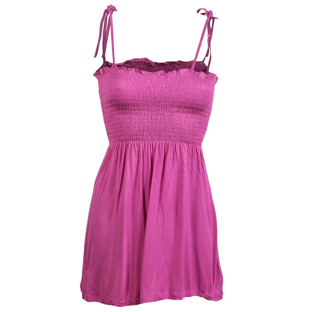 Sebix - Sexy Pink Gypsy Summer Cami Lace up Strappy Top