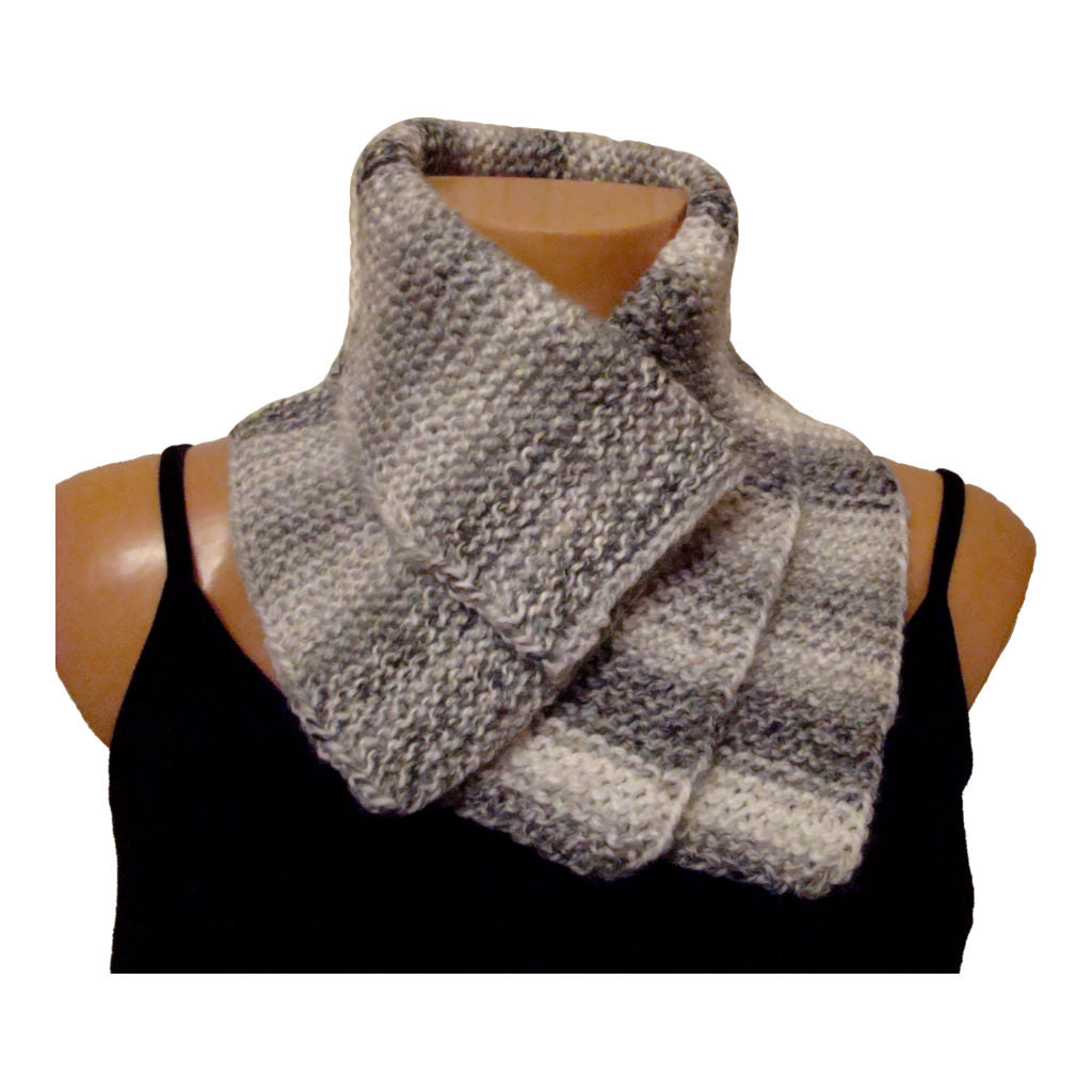 White and Grey Wooly Hat and Scarf Set - Scarf 2