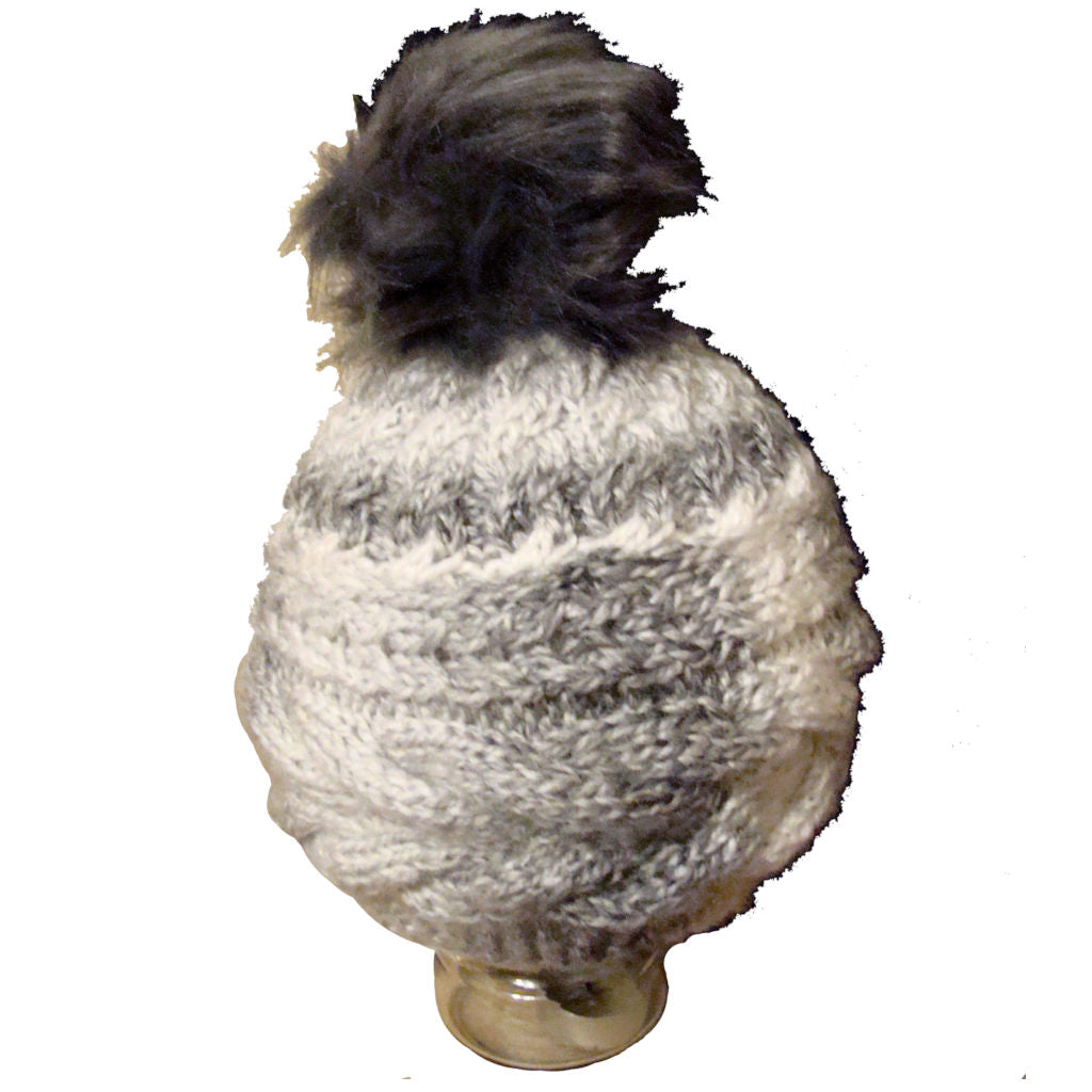 White and Grey Wooly Hat and Scarf Set - Hat 2