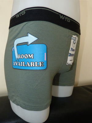 Sebix - Funny Sexy Hotel Cotton Boxer Shorts - Khaki Side