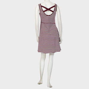 Sebix - White Red Maternity Open Back Stripe Cotton Summer Short Dress - Back