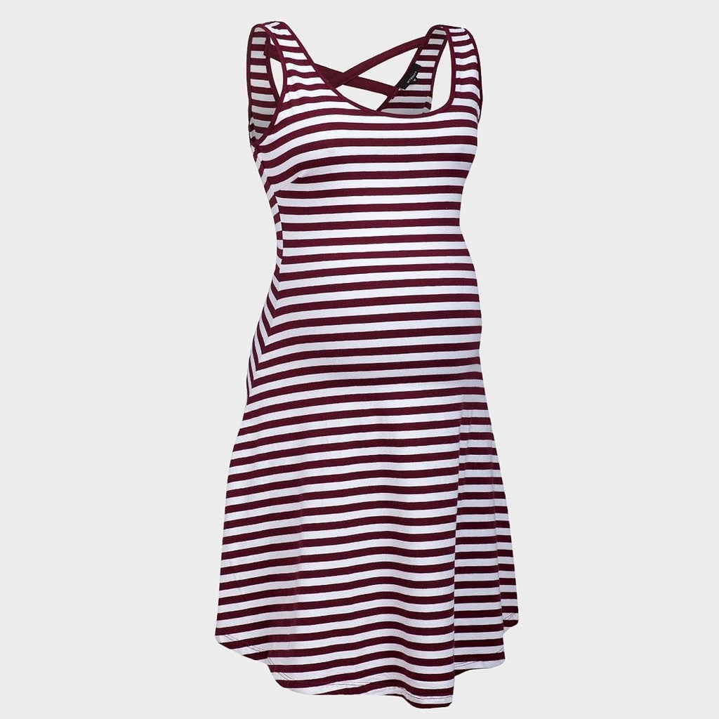 Sebix - White Red Maternity Open Back Stripe Cotton Summer Short Dress - Front