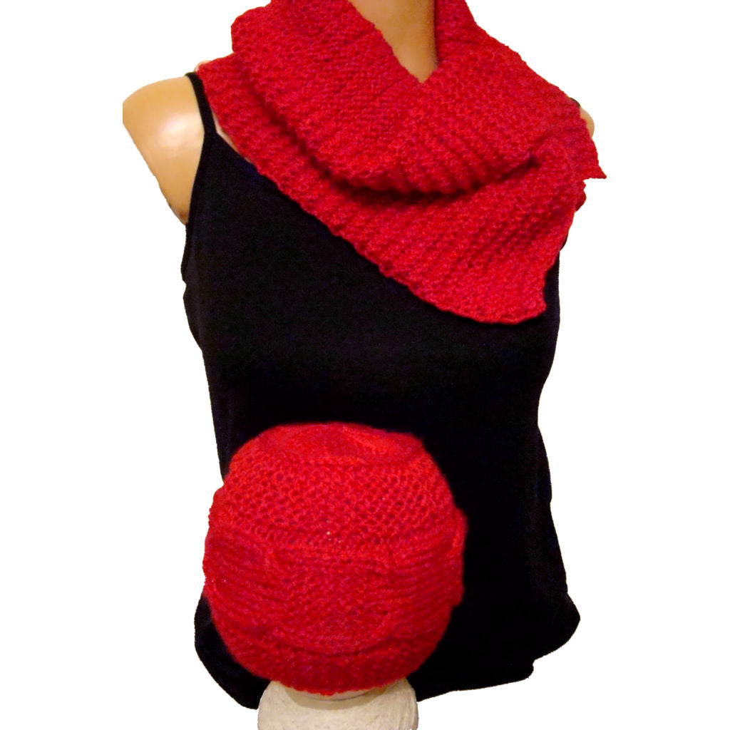 Sebix - Warm Wooly Red Hat and Scarfs Set - Hat and Scarf 1