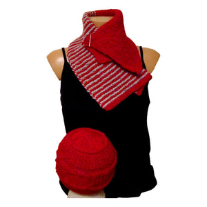 Sebix - Warm Wooly Red Hat and Scarfs Set - Hat and Scarf 2