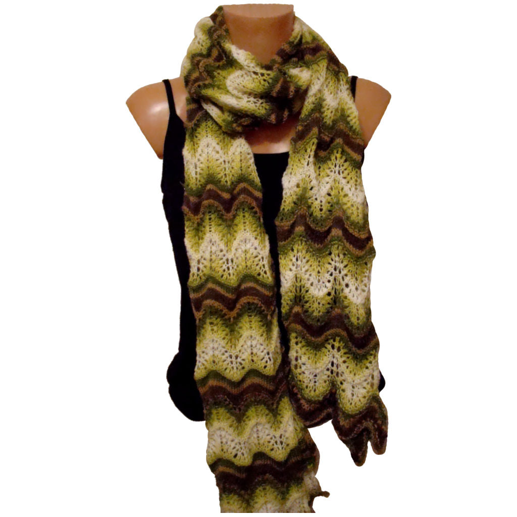 Sebix - Long White Brown Green Crochet Scarf Shawl