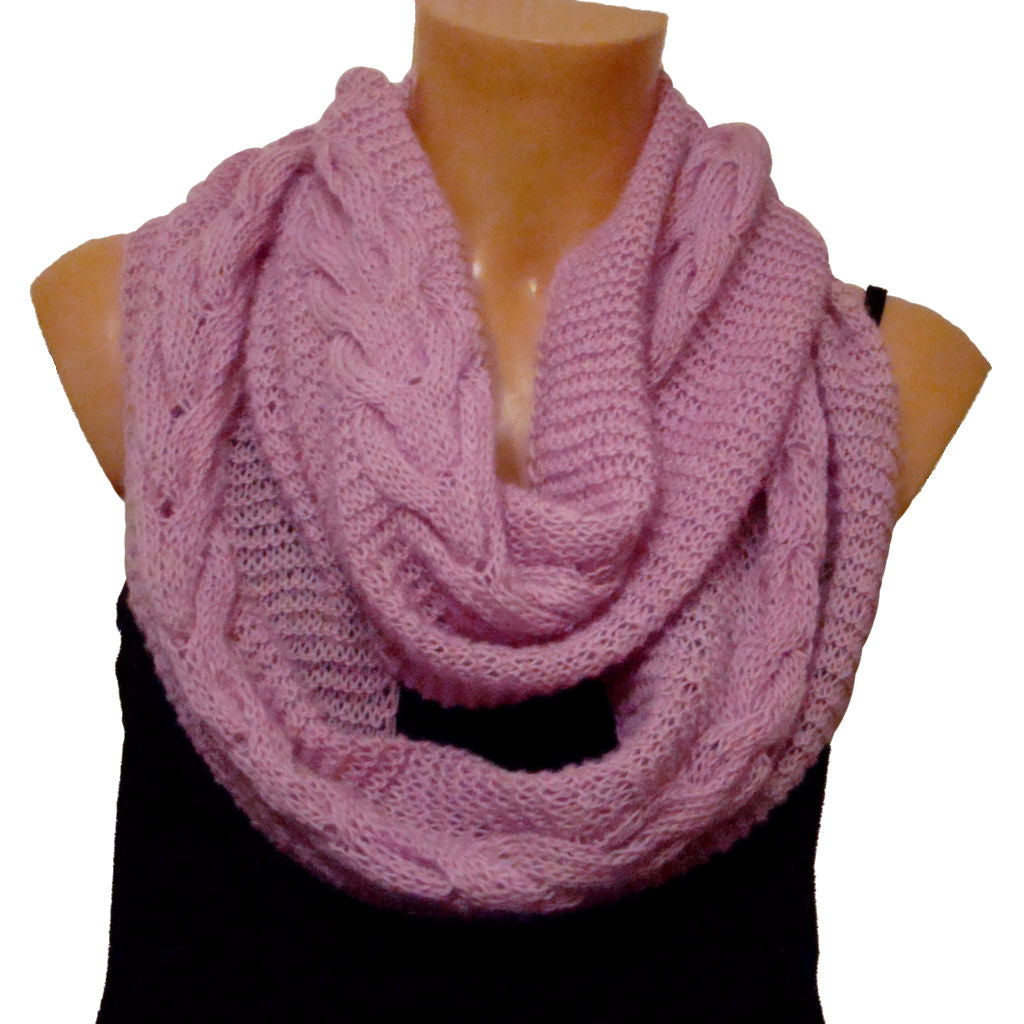 Sebix - Warm Wooly Pink / Violet Snood Style Scarf