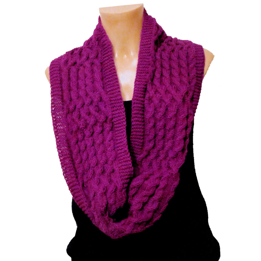 Sebix - Warm Wooly Purple Hat and Snood Scarf - Scarf 2